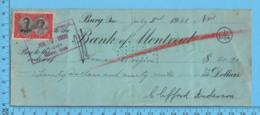 Bury Quebec- 1939 Cheque De Paye 104 1/2 Heures à 20¢ /heure - ThomasRoyer Par Clifford Anderson + Timbre Taxe - Chèques & Chèques De Voyage