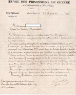 PONT L'EVEQUE - Lettre Entête  OEUVRE DES PRISONNIERS DE GUERRE De L'Arrondissement De Pont L'Evêque - 1946 - Documentos