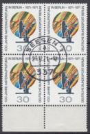BERLIN  416 , 4erBlock, Gestempelt, 100 Jahre Materialprüfung 1971 - Abarten
