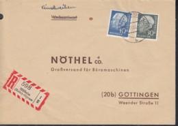 BRD  259 X, 260 X MiF,  Auf R-Brief, Mit Stempel: Mülheim-Styrum 3.11.1958 - BRD