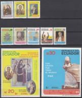 ECUADOR  1972-1979 + Block 114-115, Postfrisch **, Besuch  Von Papst Johannes Paul II. 1985 - Ecuador