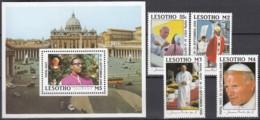 LESOTHO  707-710, Block 51, Postfrisch **, Besuch  Von Papst Johannes Paul II. 1988 - Lesotho (1966-...)