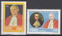 PERU  1292 + 1335, Postfrisch **, Besuch  Von Papst Johannes Paul II. 1985 - Peru