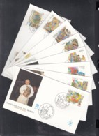 Papst Johannes Paul II, Vatikan 926-933, Papstreisen 1987, 8 FDC - Papi