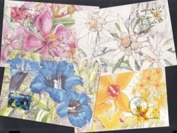 SCHWEIZ 1762-1765, 4 Maximumkarten, Blumen 2001, Gemeinschaftsausgabe Mit Singapur - Maximumkarten (MC)