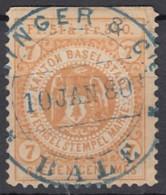 SCHWEIZ  BASEL Wechselstempelmarke, Gestempelt 10.JAN 1880 - Steuermarken