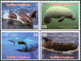 Dominican Republic 2015. Marine Mammals (MNH OG) Block Of 4 Stamps - Dominicaine (République)