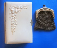 Vintage Missel Paroissien Romain Ciselé Relief Calice/Fleurs-Limoges France+Porte Monnaie En Maille Acier+images Pieuses - Religion & Esotérisme