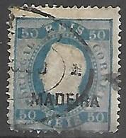 Madiera     1880   Sc#25  50r  Blue Used   2016 Scott Value $55 - Madère