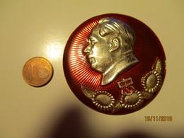 CHINA MAO TSE TUNG BIG ALUMINUM PIN BADGE  , 0 - Pin's