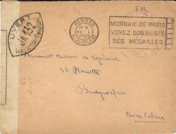20-1-1940 - DEVANT( Front ) D'enveloppe De RENNES  Pour Boulogne ( Pas De Calais ) Avec Censure J A 132 - Postmark Collection (Covers)