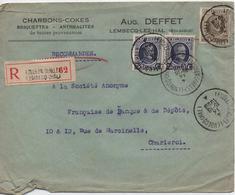 BELGIQUE  LETTRE  RECOMMANDEE   CHARBONS-COKES  LEMBECQ-LEZ-HAL  CACHET  1928 - Belgique