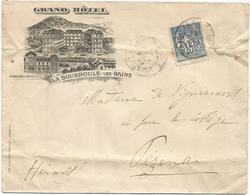 SAGE 15C PLI LETTRE ENTETE GRAND HOTEL LA BOURBOULE LES BAINS PUY DE DOME 1899 PLIEE - Marcophilie (Lettres)