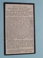 DP Désiré BALLET ( 11de LINIE ) Zoon Van Vanstraelen / Alken 24 Oct 1894 - La PANNE 20 Jan 1916 > ADINKERKE (Oorlog) ! - Todesanzeige