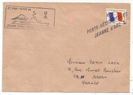 FM DRAPEAU LETTRE GRIFFE PORTE HELICOPTERE JEANNE D'ARC + GRIFFE VICTOR SCHOELCHER 27 JANV 10FR 1966 - Posta Marittima
