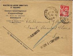 25-1-41 - Enveloppe D'un Ministère  De Bordeaux  Pour La Loire - Avec INADMIS Et RETOUR A L'ENVOYEUR - Oorlog 1939-45