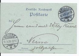 Dt.- Reich (001820) Ganzsache P40IBb Gelaufen Neisse Am 10.4.1900 Frühes Datum!! - Deutschland