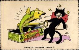 Artiste Cp Glückwunsch 1. April, Schwarze Katze, Konserven Fisch, Gare Au Poisson D'Avril - Animali