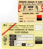 PARC DES PRINCES RUGBY FINALE CHAMPIONNAT FRANCE 1er Juin 1991 - Tickets - Entradas