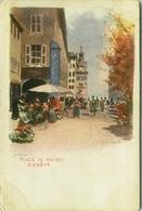 SWITZERLAND - J. REDMUND SIGNED 1900s LITHO POSTCARD - GENEVE - PLACE DU MOLARD - EDIT VOUGA & C. (7141) - GE Geneva