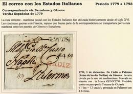 1790. CÁDIZ A PALERMO VÍA GÉNOVA. MARCA TRÁNSITO GENNº1791. PORTEADA PALERMO. MARCA CADIZ EN ROJO. - ...-1850 Préphilatélie