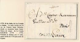 1779. LA CORUÑA A GANTE. VÍA FRANCIA HASTA BRUSELAS HASTA GANTE. MARCA ORIGEN GALICIA NEGRO. PORTEADA 11 SOLES. - Spanien
