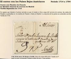 1744. BRUJAS A SEVILLA. MARCA ORIGEN BRUGES NEGRO. TASADA 9 REALES. - ...-1850 Préphilatélie