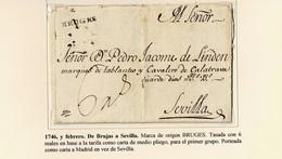 1746. BRUJAS A SEVILLA. MARCA ORIGEN BRUGES NEGRO. TASADA 6 REALES. - ...-1850 Prefilatelia