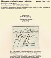 1814. GRANADA A GÉNOVA. MARCA FRONTERIZA ESPAGNE PAR BAYONNE. 41 DÉCIMAS. - ...-1850 Préphilatélie