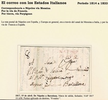 1817. NÁPOLES A BARCELONA. MARCA SALIDA, FECHADOR NAP 1817/19.APR. ROJO. PORTEO EN DESTINO 8 REALES. - ...-1850 Préphilatélie