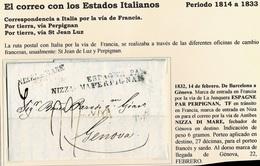 1832. BARCELONA A GÉNOVA. MARCA ESPAGNE/PAR PERPIGNAN Y NIZZA DI MARE EN NEGRO. 27 DÉCIMAS. - ...-1850 Préphilatélie
