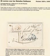 1840. CÁDIZ A GÉNOVA. FECHADOR DE CÁDIZ Y FECHADOR ESPAG 2/PERPIGNAN. MARCA VIA DI NIZZA. 41 DÉCIMAS. - ...-1850 Préphilatélie