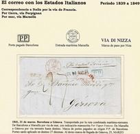 1841. BARCELONA A GÉNOVA. INDICACIÓN MNS. POR VAPOR FENICIO. MARCA P.P. AZUL BARCELONA. 27 DÉCIMAS. MARCA LLEGADA DORSO. - ...-1850 Préphilatélie