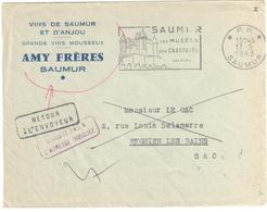 SAUMUR Maine Et Loire Lettre Entête Vins AMY FRERES Ob 1963 Mécanique Flamme Illustrée PP Retour Envoyeur Enghien - Postmark Collection (Covers)