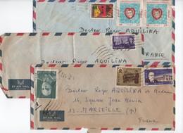 IRAN-  1966 Env.  Lot De 3 Enveloppes S/corresp. ( 7 Timbres)  Pour La France-    Bon état Général - Iran