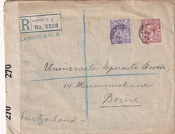 GRANDE-BRETAGNE 1919 LETTRE RECOMMANDEE  CENSUREE DE LONDON AVEC CACHET ARRIVEE BERN - 1902-1951 (Rois)