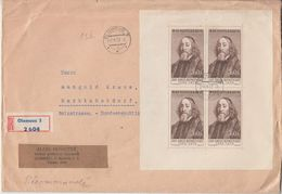 CSSR - Komensky Kleinbogen Einschreibebrief Olmütz - Marktoberdorf 1957 - Tschechoslowakei/CSSR
