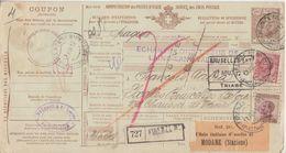 Italien - 1,25 L. Ganzsache Paketkarte M. Zusatz N. BELGIEN Firenze Brüssel 1912 - Italie