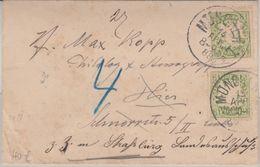 Bayern - 3 Pfg Wappen/A-Zähnung Ortsbrief München 1888 Nachsendung Straßburg - Bayern (Baviera)