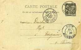 89 CP3 Entier Carte Postale Sage 10c Eu Seine Inférieure 1896 Type A2 Pour Tergnier Aisne  Verso Vast Darras Fers Meules - Postales Tipos Y (antes De 1995)