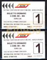 Milano, 2019, ATM, 2 Biglietti 3 Zone, Obliterati - Metro
