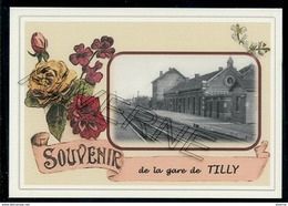 TILLY  .....  2 Cartes Souvenirs Gare ... Train  Creations Modernes Série Limitée - Villers-la-Ville