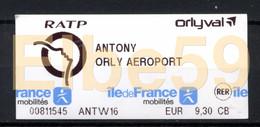 Paris, 2019, RATP, Orlyval, Ticket ANTONY-ORLY AEROPORT, Obliteré - Metro