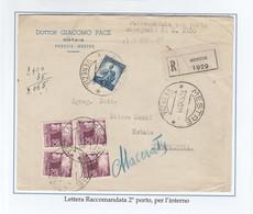 St.Post.326 - REPUBBLICA 1950 - 5°PeriodoTarif. - Lettera Racc.2°porto Da Mestre A Novafeltria 17.5.50 - 1946-60: Storia Postale