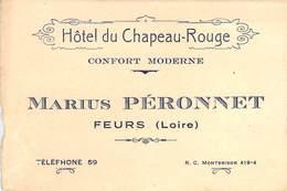"""CPA / CARTE DE VISITE FRANCE 42 """"Feurs, Hotel Du Chapeau Rouge M. PERONNET"""" - Feurs"""