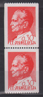 """8. Yugoslavia 1968 Tito Coil 0,30d Pair """"cheek Dot"""" Variety MNH - Unused Stamps"""