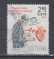 Lithuania 2014 Mi 1197 Used First Heart Surgery - Lituanie