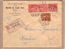 """ALLIER - LETTRE MAIRIE SAINT VOIR  POUR  MOULINS CAD  CIRCUIT POSTAL """" VARENNES ALLIER C. P. N° 3 """" + RECOMMANDE - 1932 - Storia Postale"""