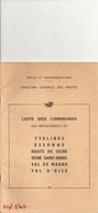 Liste Des Communes  Des Departemends 78...91.. 92.. 93.. 94..95.. Editée Par Direction Generale Des Postes 1965 - Livres, BD, Revues
