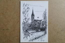 MARLY -L'Eglise - Illustrateur C.Roux - Carte Double ( 57 Moselle ) - Altri Comuni